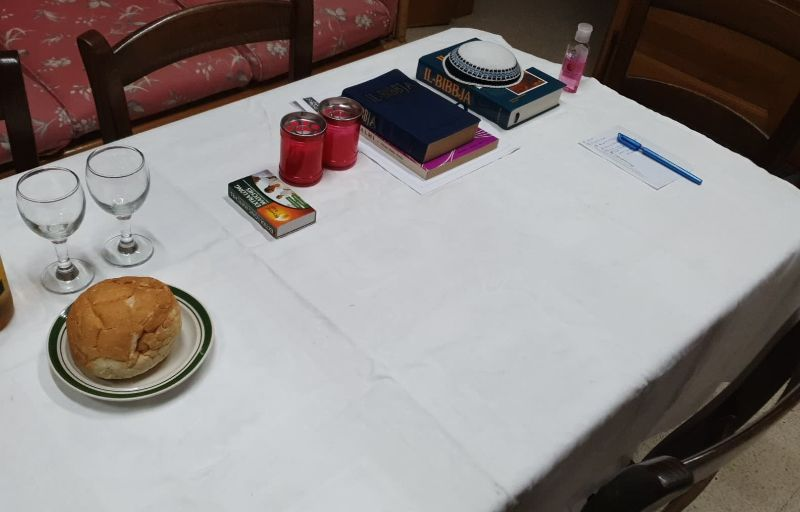 Table set for prayer